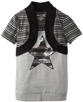 One Step Up Girls 7-16 Stripe Sequin Top