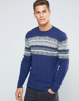 Benetton Cable Knit Sweater with Fair Isle Panel