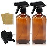 Mavogel Black Trigger Empty Amber Glass Spray Bottle (2 Pieces, 16 oz.) with 4-Piece Bottles Stickers and 1 Black Trigger