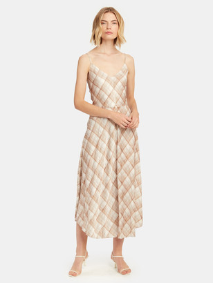 Vince Hazy Plaid Midi Cami Dress