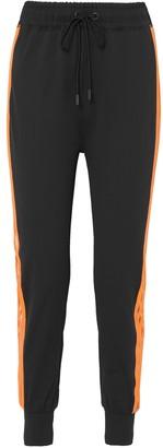 Ganni Presbourg Mesh-trimmed Striped Stretch-jersey Track Pants