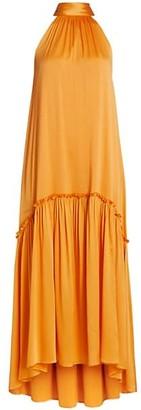 Jonathan Simkhai Anessa Hammered Silk High-Low Maxi Dress