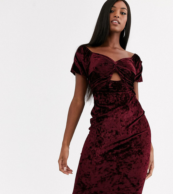 Bardot Flounce London Tall velvet midi dress in oxblood