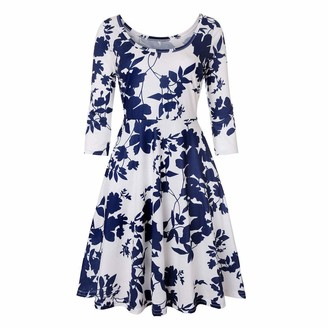 VECDY Women's Four Seasons Wear Fashion Trend Wild Knee-Length Skirt Mature Woman Round Neck Print A Word Casual Dress(Blue 14)
