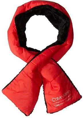 Calvin Klein Nylon Puffer Scarf (Process Red) Scarves