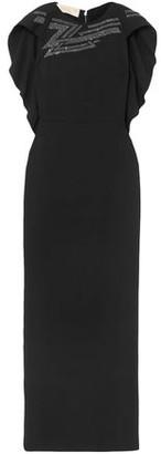 Antonio Berardi Cape-effect Crystal-embellished Crepe Gown