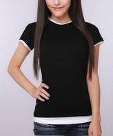 Pima Apparel Women's Tee Shirts BKWH - Black & White Semi-Sheer Layered Crewneck Tee - Women