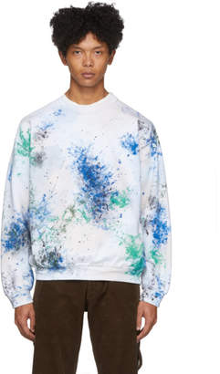 SASQUATCHfabrix. White and Multicolor Painted Vintage Sweatshirt