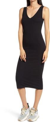Love, Fire Ribbed Body-Con Midi Dress