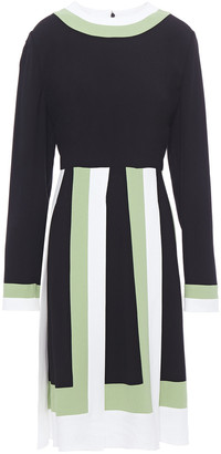 Valentino Pleated Color-block Crepe Dress