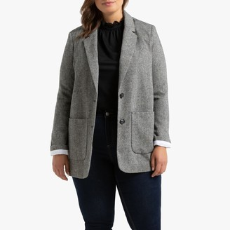 La Redoute Collections Plus Straight Single-Breasted Blazer in Herringbone Tweed with Pockets