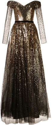 Marchesa Notte Off-The-Shoulder Sequin Gown