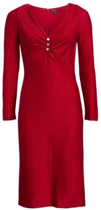 St. John Evening Shimmer Wool-Blend V-Neck Dress