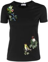 RED Valentino Flower And Birds Embroidered Black T-shirt