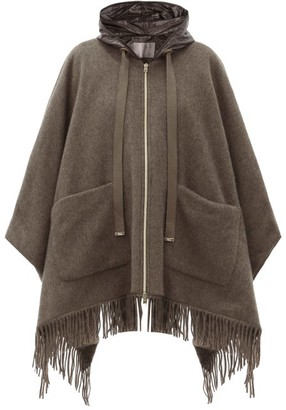 Herno Hooded Quilted Shell-lined Wool Cape - Mid Brown