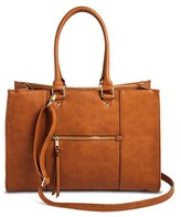 Merona Women's Tote Faux Leather Handbag with Zip Front Pocket