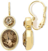JCPenney MONET JEWELRY Monet Gold-Tone Brown Stones Double-Drop Earrings