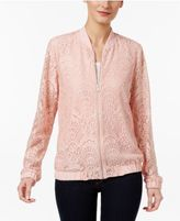 NY Collection Petite Lace Bomber Jacket
