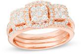 Zales 3/4 CT. T.W. Composite Diamond Three Stone Cushion Frame Bridal Set in 10K Rose Gold