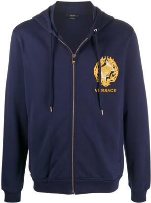 Versace Medusa embroidery zip-up hoodie