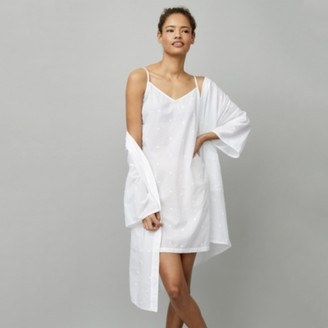 The White Company Cotton Daisy Embroidered Nightie, White, Extra Small