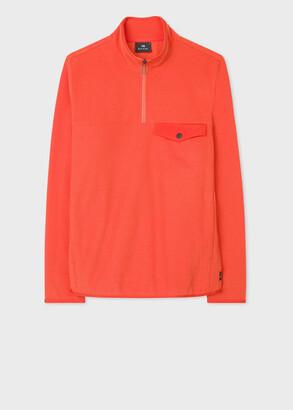 Paul Smith Men's Orange Half-Zip Funnel Neck Fleece