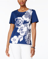 Alfred Dunner Garden Party Studded Floral-Print Top