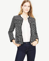 Ann Taylor Petite Ruffle Tweed Diagonal Stripe Jacket
