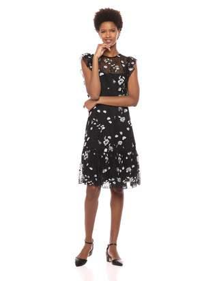 ML Monique Lhuillier Monique Lhuillier Ml Women's Embroidered Mesh Dress with Sleeve Ruffle