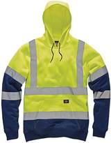 Dickies Mens High Visibility Viz Two Tone Hoodie Hooded Sweatshirt Safety Work