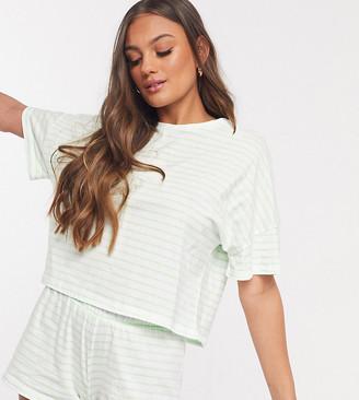 ASOS DESIGN Petite stripe tee & short pajama set in green