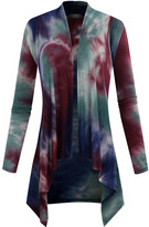 BB B+B Women's Open Cardigans BURGUNDY - Burgundy & Blue Tie-Dye Long-Sleeve Cardigan - Women