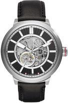 Armani Exchange A X Men's Automatic Black Leather Strap Watch 49mm AX1418