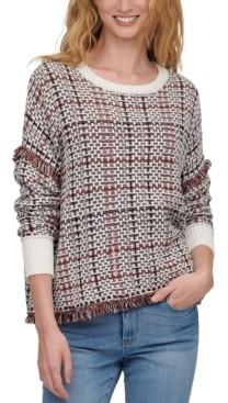 DKNY Lurex Plaid Weaved Fringe Sweater