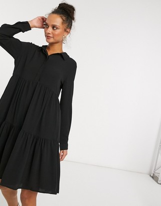 JDY shirt dress with tiered hem in black