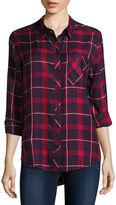 Arizona Long-Sleeve Oversized Plaid Shirt - Juniors