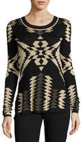 Ralph Lauren Geometric Jacquard Tunic Sweater, Black