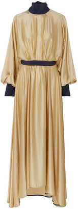 Roksanda Gathered Two-tone Silk-satin Maxi Dress