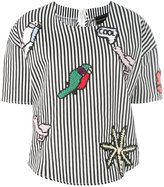 Michaela Buerger - knit patches striped blouse - women - Cotton - XS