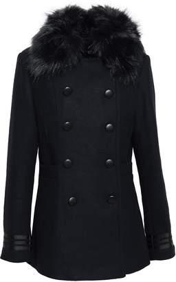 Line Ellis Double-breasted Faux Fur-trimmed Brushed-felt Coat