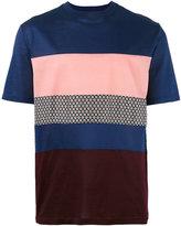 Lanvin mix fabric panel T-shirt - men - Silk/Cotton - L