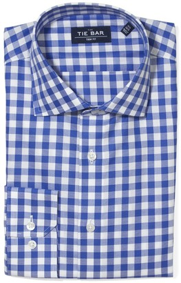 Tie Bar Large Gingham Textured Classic Blue Non-Iron Dress Shirt