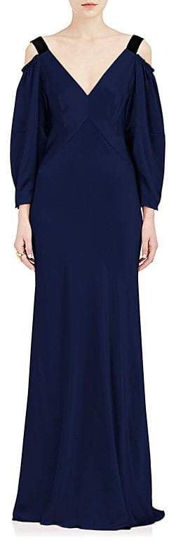Alberta Ferretti Women's Silk Satin Cold-Shoulder Gown