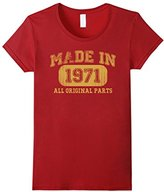 Børn Women's in 1971 Tshirt 46th Birthday Gifts 46 yrs Years Made in Small