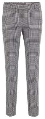 BOSS Tapered trousers in Glen-check fabric with striped taping