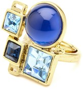Oscar de la Renta Geometric Resin and Crystal Ring