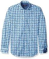 Bugatchi Men's Checkered Watercolor Texture Cotton Classic Fit Sports Shirt