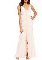 Aidan Mattox V-Neck Sleeveless Ruffled Slip Gown