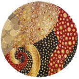 "Momeni Rugs NEWWANW-71MTI590R New Wave Collection, 100% Wool Hand Carved & Tufted Contemporary Area Rug, 5'9"" Round"