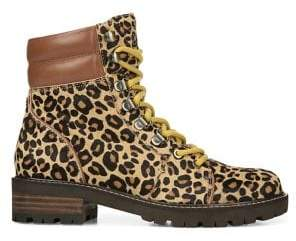 Sam Edelman Tamia Lace-Up Leopard-Print Calf Hair Leather Hiking Boots